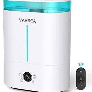 VAVSEA Humidifiers for Bedroom, Home Large Room 4L Top Fill Cool Mist Air Ultrasonic Humidifier For Baby Plants Kids with Remote Control, 3 Mist Modes, LED Touch Display, Sleep Mode, Easy Clean